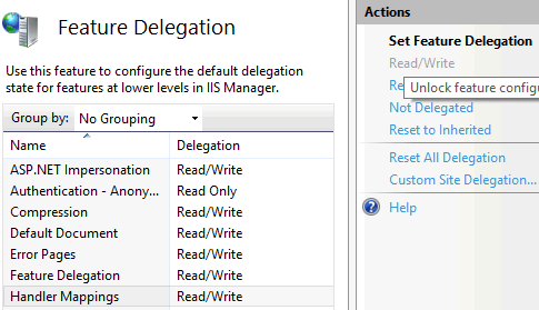 screenshot of Feature Delegation UI